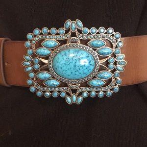 Turquoise buckle brown belt Sz Small / Medium